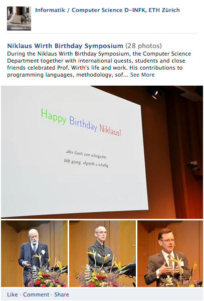 Photos from the Wirth Symposium (by D-INFK)